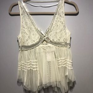 Free People ivory, detailed lace tank. Never worn.